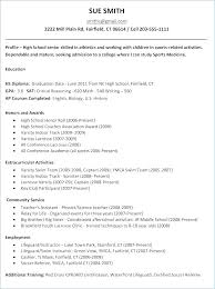 Resume For College Application Sample High School Resume For College
