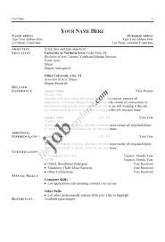 Resume Example 8 Cv Name Of Exa Sevte