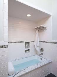 tile bathtub bathroom mid sized traditional master subway tile and white tile porcelain floor and gray tile bathtub