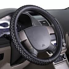 24e black leather steering wheel cover 15 size