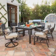 traditional backyard ideas with royal garden patio dining sets beige canvas chair cushion pad