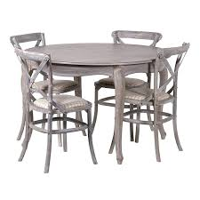 grey wash dining table image view of dining table with cross back chairs