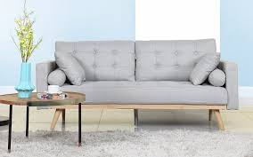 image of design mid century modern sofa grey with wood teak