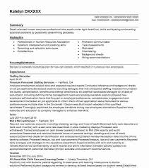 Staffing Specialist Resumes Staffing Recruiter Objectives Resume Objective Livecareer