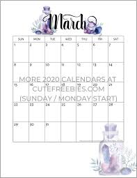 Month Of March Calendar 2020 Free Printable 2019 2020 Calendar Crystal Gems Monthly