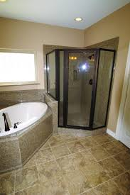 attractive bathtub surrounds that enchant with natural color corner shower with glass enclosure and granite