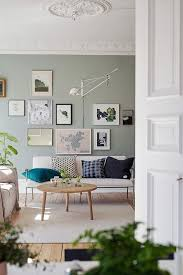swedish living room in green and cognac