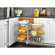 Blind Corner Cabinet Pull Out Shelves RevAShelf 100 In Corner Cabinet PullOut Chrome 100Tier Wire 43