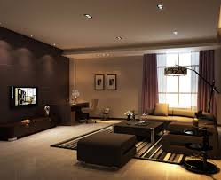 modern living room lighting ideas. Dark Brown Wall Color With Striped Area Rug For Modern Living Room Decorating Ideas Best Recessed Lighting N