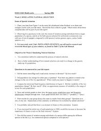 Objectives For Week 2 Simulating Natural Selection