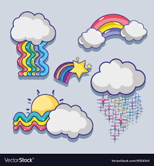 Clouds Design Set Cute Rainbows With Clouds Design Royalty Free Vector