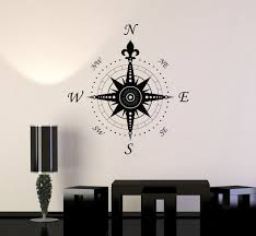 Wall Decal Compass Rose Home Decoration Geography Travel Vinyl ...