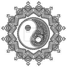 Nálepka Vector Henna Tetování Mandala Jin Jang Dekorativní Symbol Mehndi