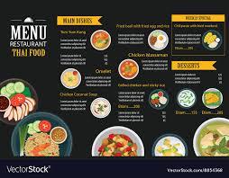 Food Menu Design Thai Food Restaurant Menu Template Flat Design Vector Image