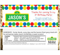 chocolate bar wrappers birthday sesame street theme candy bar wrapper