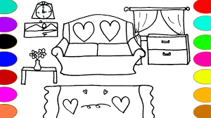 Living Room Coloring Living Room Drawing And Coloring Pages Color With Watercolor For