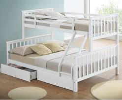 maxi white triple sleeper bunk bed with storage drawers