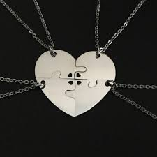 stainless steel heart puzzle necklaces