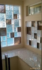 Colored Glass Block Shower | Colored glass block block bathroom window
