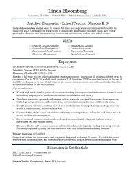 Elementary School Teacher Resume Template Monster Regarding Sample
