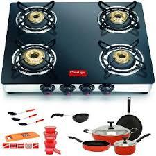 gas stove burner. Delighful Burner Prestige Marvel 4 Burner Gas Stove U0026 Crystal 16 Pcs Cookware Set Combo   Kitchen Combos  ShopCJ In S