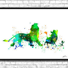 the lion king watercolor art print simba timon pumbaa home deco