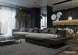 dark gray living room furniture. Living Room, A Dark And Calming Bachelor Pad With Natural Wood Concrete Grey Gray Room Furniture