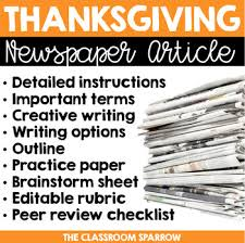 Creative Newspaper Template Thanksgiving Newspaper Article Creative Writing Template Editable Rubric