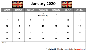 Printable Calendars 2020 With Holidays Monthly 2020 The United Kingdom Uk Holidays Calendar