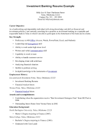 Cover Letter Objective Resume Example Badak Investment Banking Job