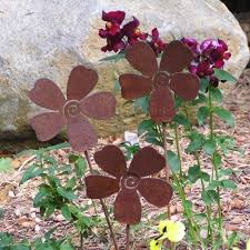 3 rusty metal flowers garden art yard stake set by mountainiron