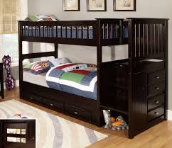 discovery world furniture twin over twin espresso staircase bunk beds