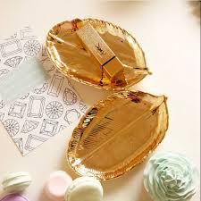 <b>Gold Leaf Jewellery</b> Tray Ceramic Trinket Dish Ring Earrings ...