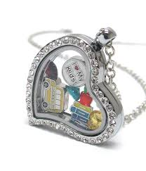 whole origami style floating charm heart locket pendant necklace teacher kids school theme locket opens and charms included 429753