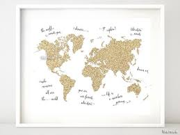 Gold Quotes Interesting Gold Glitter World Map With Inspirational Quotes 448x48 Blursbyai