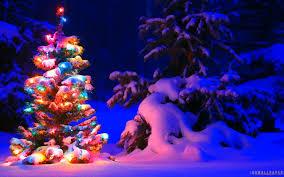 Desktop Christmas Lights Snow And Lights On Christmas Tree Wallpaper Christmas