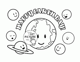 Cute Planets Happy Earth Day Coloring Page For Kids Planets