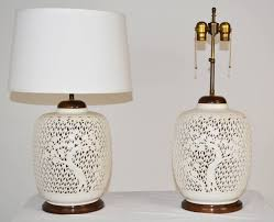 pair of reticulated porcelain blanc de chine lamps in good condition for in palm springs