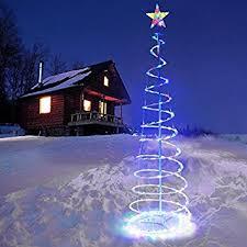 5 feet multi color bling bling led lighted spiral star night light string ground stakes christmas