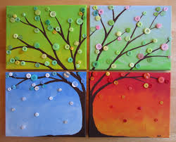 Interesting Tree Canvas Painting Ideas With Buttons Decoration