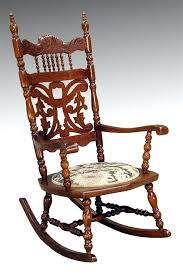 antique wooden rocker carved oak press back rocking chair identification