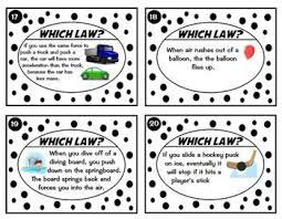 Laws Of Motion Examples Newtons Laws Of Motion Task Card Sort Real World Examples