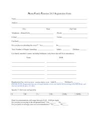 printable registration form template family reunion registration form template reunions free printable