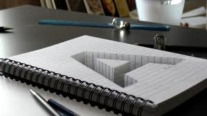 drawing of a hole letter a in line paper 3d trick art optical illusion