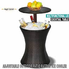 outsunny rattan ice bucket cooler table