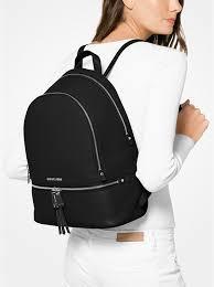 black michael kors rhea large leather backpack bag