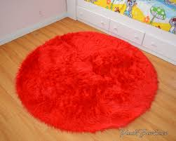 vibrant red fur rug bright faux throw area round boy girl kids