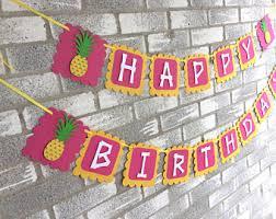 Happy birthday banner designs free download ~ Happy birthday banner designs free download ~ Tropical happy birthday banner diy printable pineapple