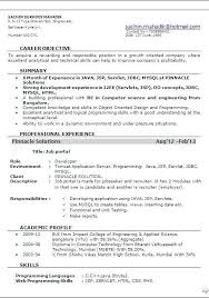 Resume Model For Experience Candidate Resume Format For 6 Months Experienced Software Engineer