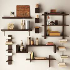 Shapely Wall Shelving Ideas in Unique Style Colored in Dark Brown of Wood